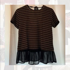 Scoop back and tie Black and white striped blouse